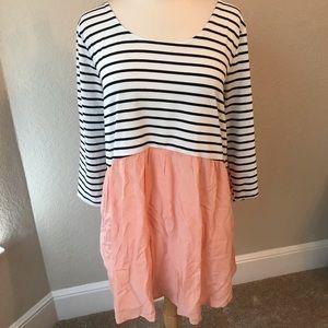 Umgee Dress Tunic Black Striped Top Pink Skirt XL